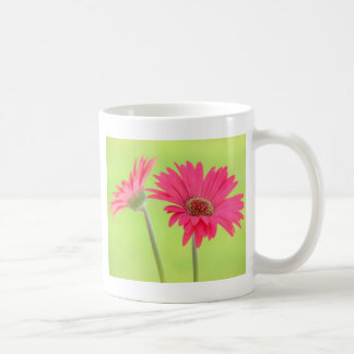 Customizable Pink Gerber Daisies on Green Coffee Mug