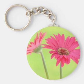Customizable Pink Gerber Daisies on Green Key Ring