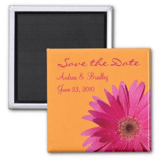 Customizable Pink Gerbera Daisy Monogram Magnet Magnets