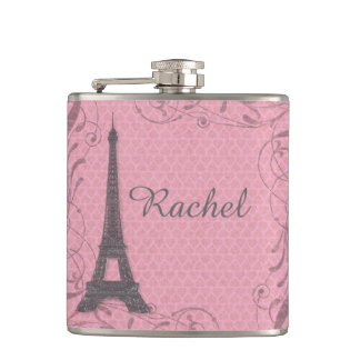 Customizable pink gray Eiffel Tower flask