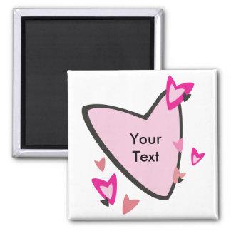 Customizable Pink Heart Favors Fridge Magnets