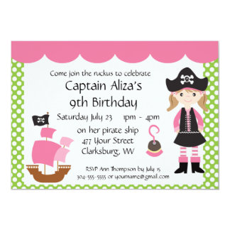 Customizable Pink Pirate Girl Birthday Party Card