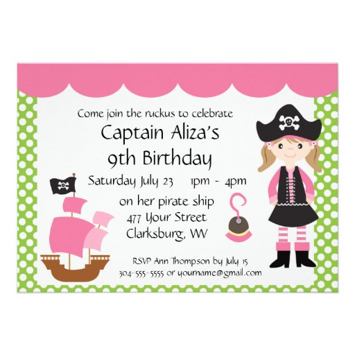 Customizable Pink Pirate Girl Birthday Party Invite