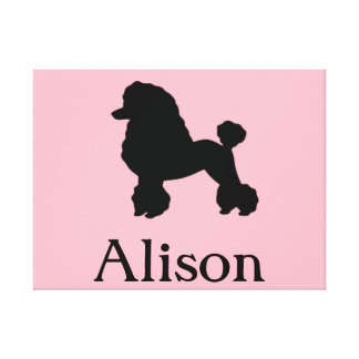 Customizable Pink Poodle Stretched Canvas Print