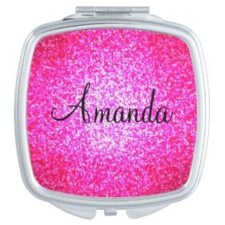 Customizable pink sparkly glitter compact mirror