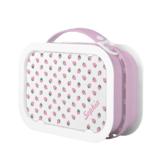 Customizable Pink Strawberry Lunch Box