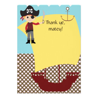 Customizable Pirate Ship Thank You Invitations