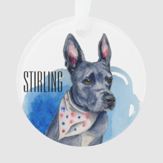 Customizable Pit Bull Dog Blue Watercolor Ornament
