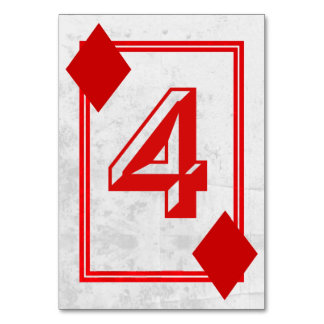 Customizable Playing Card Table Numbers (No.4) Table Card