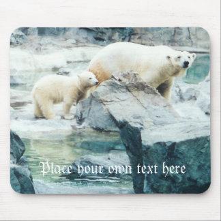 Customizable polar bear mom and cub mousepad