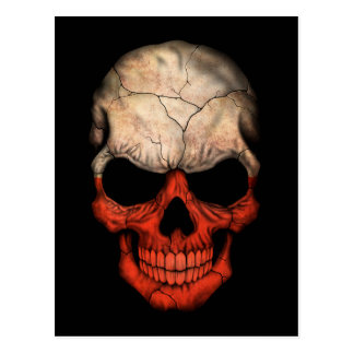 Customizable Polish Flag Skull Postcard