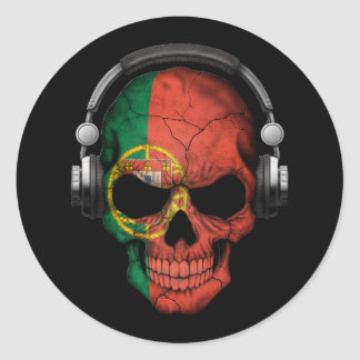 Customizable Portuguese Dj Skull with Headphones Round Sticker