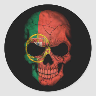 Customizable Portuguese Flag Skull Classic Round Sticker