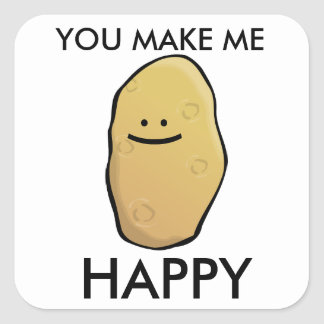 Customizable Potato Emoticon Square Sticker