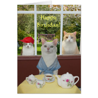 Customizable Pretty Cat Female Birthday Greeting Card