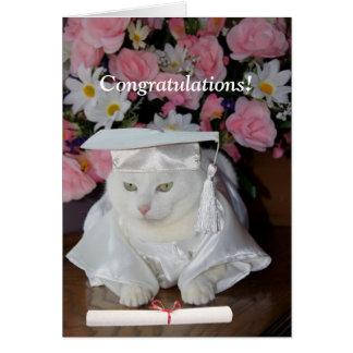 Customizable Pretty Cat Female Graduation Greeting Card