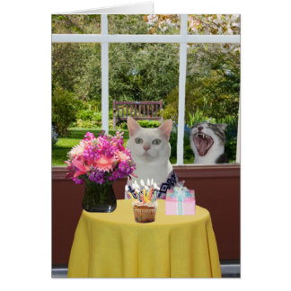 Customizable Pretty Cat Female Photobomb Birthday Card