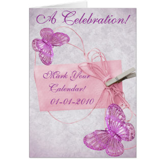 Customizable Pretty Pink Butterfly Design Greeting Card
