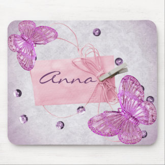Customizable Pretty Pink Butterfly Design Mouse Mat