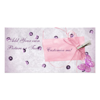 Customizable Pretty Pink Butterfly Design Photo Cards