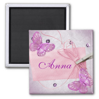 Customizable Pretty Pink Butterfly Design Square Magnet