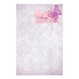 Customizable Pretty Pink Butterfly Design Stationery