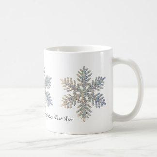 Customizable Printed Glittery Snowflake Coffee Mug