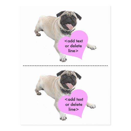 Customizable Pug Valentine Day Postcard