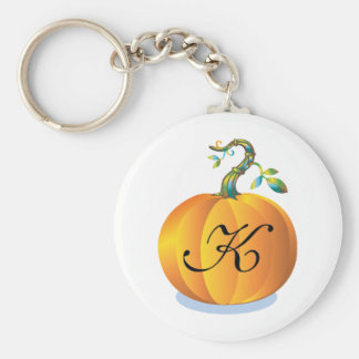 Customizable Pumpkin Initial K Key Ring