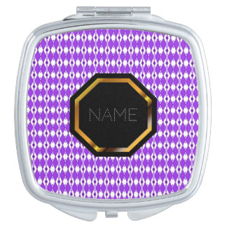 Customizable Purple Argyle Compact Mirror