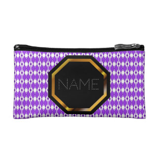 Customizable Purple Argyle Cosmetics Bag