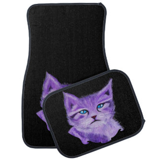Customizable purple cat with blue eyes car mat