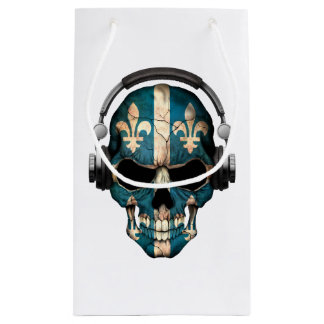 Customizable Quebec Dj Skull with Headphones Small Gift Bag