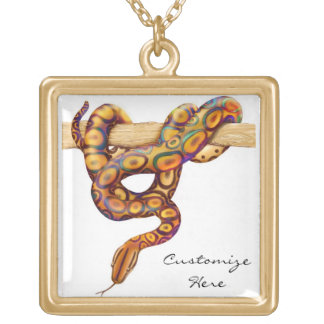 Customizable Rainbow Boa Constrictor Snake Necklac Gold Plated Necklace