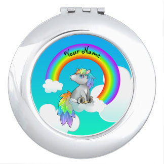 Customizable Rainbow Unicorn Compact, girly gift! Makeup Mirror