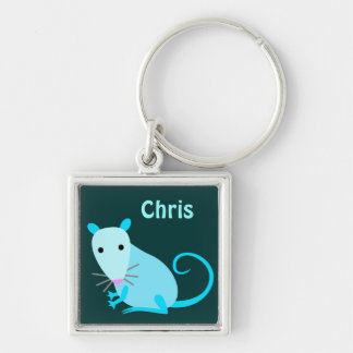 Customizable Rat Keyring Silver-Colored Square Key Ring