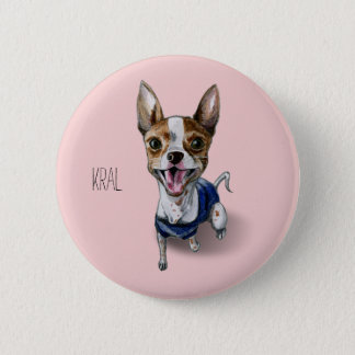 Customizable Rat Terrier Dog Watercolor Painting 6 Cm Round Badge