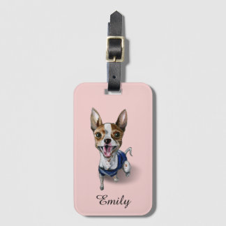 Customizable Rat Terrier Dog Watercolor Painting Luggage Tag
