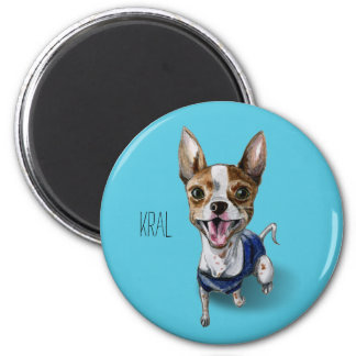 Customizable Rat Terrier Dog Watercolor Painting Magnet