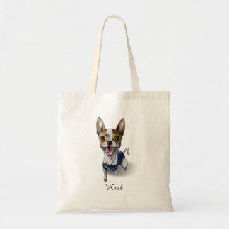 Customizable Rat Terrier Dog Watercolor Painting Tote Bag
