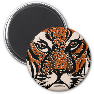 customizable realistic tiger face. 6 cm round magnet