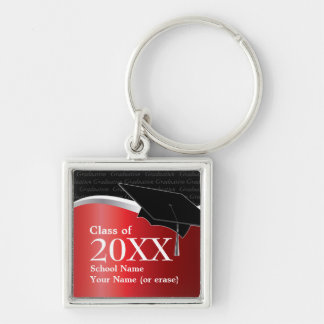 Customizable Red and Black Graduation Keychain