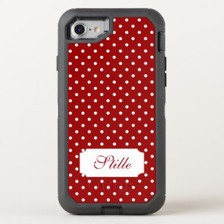 Customizable Red and White Polka Pattern OtterBox Defender iPhone 7 Case