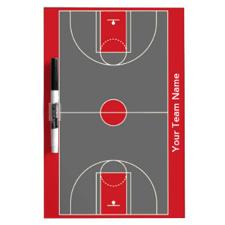Customizable red gray basketball dry erase board