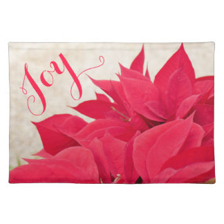 Customizable Red Poinsettia Placemat