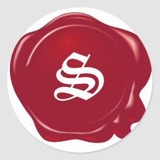 Customizable Red Wax Seal Round Sticker
