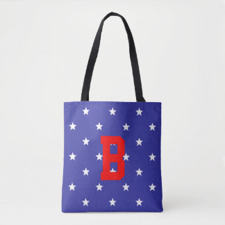 Customizable Red White and Blue Monogram Tote Bag