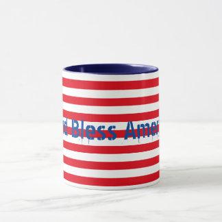 """Customizable Red White Blue """"God Bless America"""" Mug"""