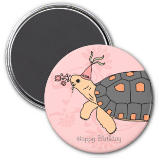 Customizable Redfoot Tortoise Birthday Magnet 2
