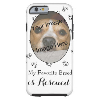 Customizable Rescue Dog Hearts and Paw Prints Tough iPhone 6 Case